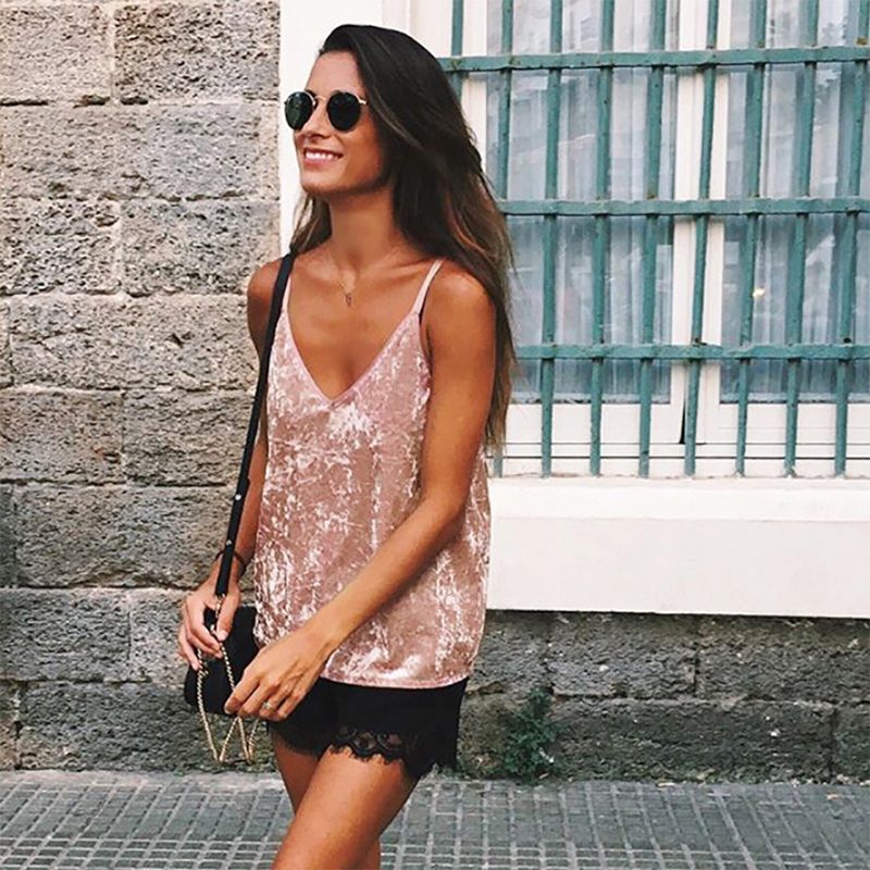Kinikiss Women Velvet Tank Tops Fashion Sexy Female V-neck Camisole Spaghetti Strap Tops Pink Coffee Loose Shine Velvet Camis J190427