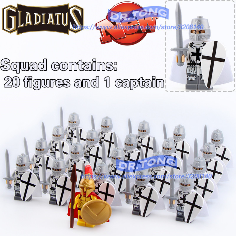 Dr.tong Gladiatus Warriors Rome Fighters Medieval Castle Knights Building Blocks Brick Toys Y190606