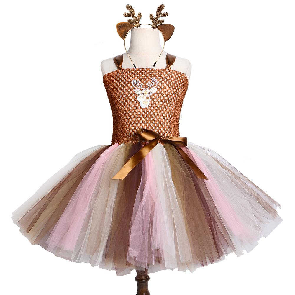 Brown Deer Tutu Dress Ragazze Bambini Natale Birthday Party Dress Bambini Cute Animal Deer Halloween Costume ragazze 2-12 anni Y190516