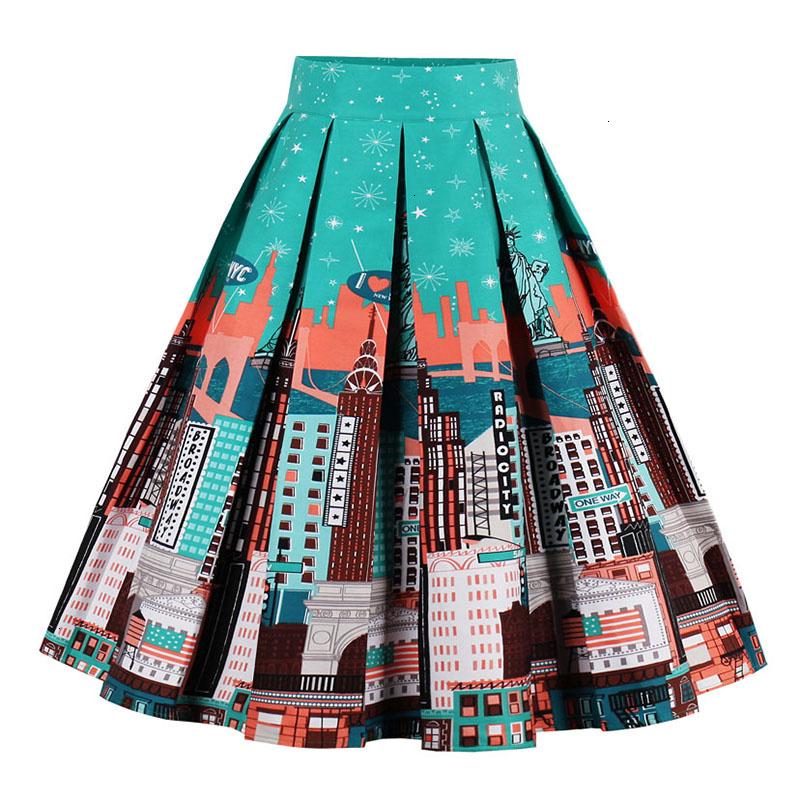 Kostlish Retro Print Flower Summer Skirts Womens High Waist Vintage Skirt Elegant A-Line Midi Women Skirt Plus Size XXL (19)