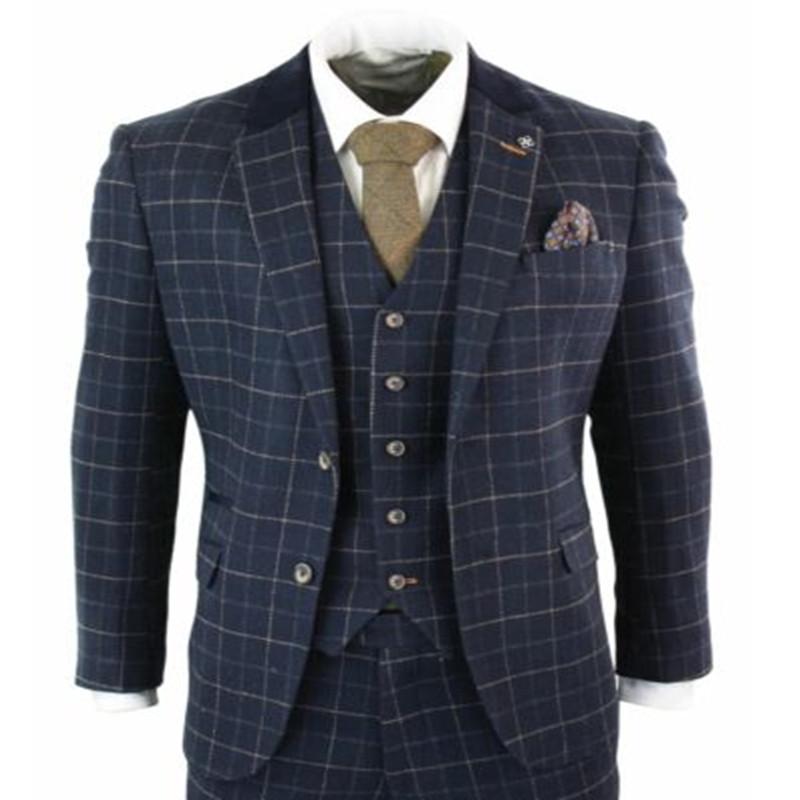 Mens Classic 3 Piece Tweed Suit Olive Green Herringbone Check Retro Smart Tailored Fit
