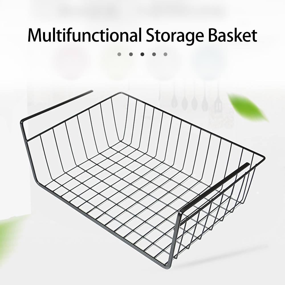 Iron Hanging Basket Closet Shelf Hook Cabinet Storage Rack Holder Bathroom Kitchen Cupboard Organizer Accories