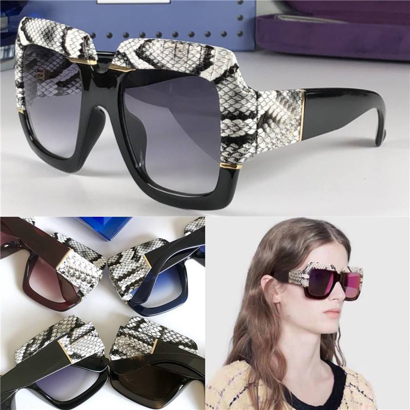 lunettes de soleil nouveau concepteur femmes chaud mode haut cadre de la peau de serpent carré qualité populaire généreux de style élégant 0484 UV400
