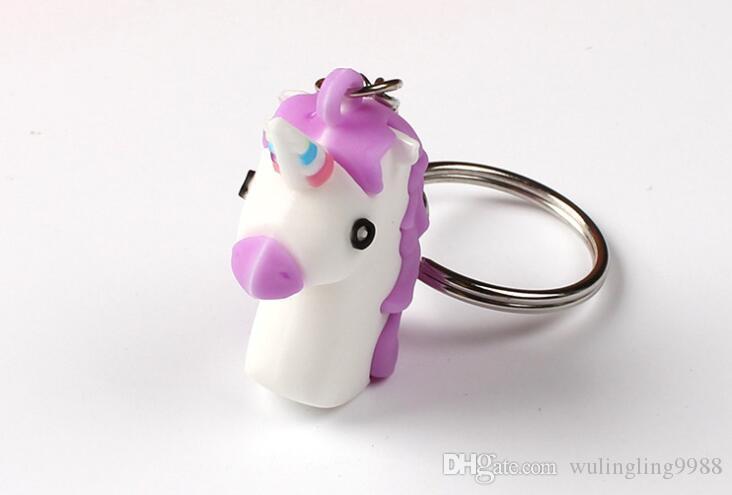 3D Unicorn Keychain Soft PVC Horse Pony Unicorn Key Ring Chains Bag Hangs Fashion Accessories Toy Gift