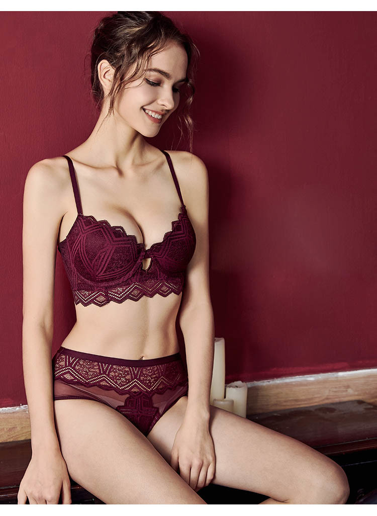 CINOON New Top Sexy Underwear Set Push-up Bra And Panty Sets Hollow Brassiere Gather Sexy Bra Embroidery Lace Lingerie Set (1)