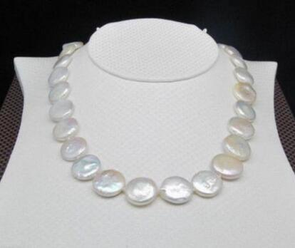 Natural 13-15MM White SOUTH SEA Coin Pearl Necklace 17/""