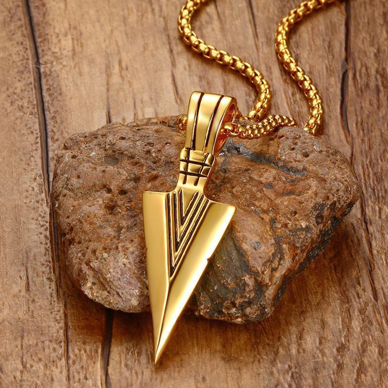 Striking Men's Vintage Spearhead Arrowhead Pendant Necklace For Men Special Surf Bike Chocker Stainless Steel Jewelry J190610