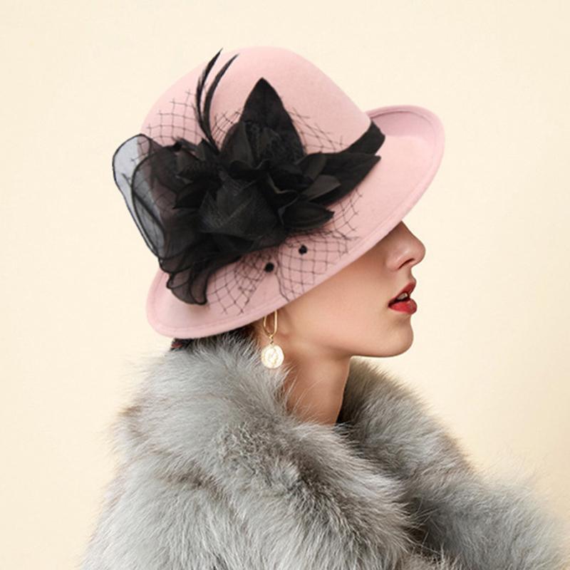 Frauen Dame  Pillbox Hüte Top Vintage Bogen Knoten Hochzeit Schleier Bowler  Cap