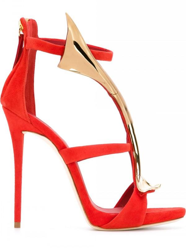 Woman-Snake-Design-Sandals-Metallic-Gold-High-Heel-Sandals-Red-Black-Suede-Open-Toe-Cut-out (2)