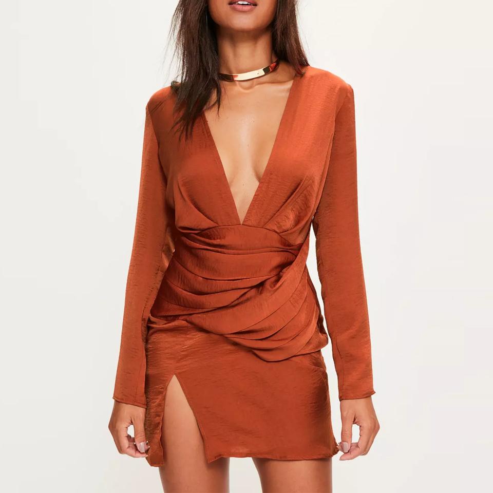 silky long sleeve panelled dress