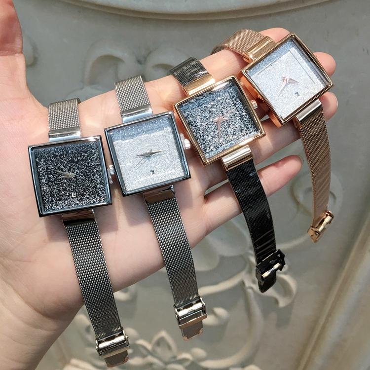Envío de la gota Reloj de mujer de moda Venta caliente de acero inoxidable Reloj de pulsera de señora de lujo con fecha Reloj de cuarzo Dial intermitente Precio al por mayor