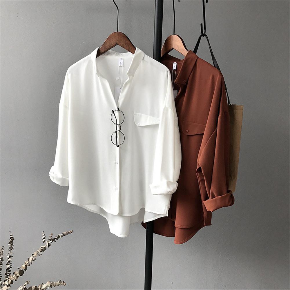 High quality Casual Chiffon white Women blouse shirt oversized Three Quarter sleeve loose shirt office wear casua tops blusas (5)