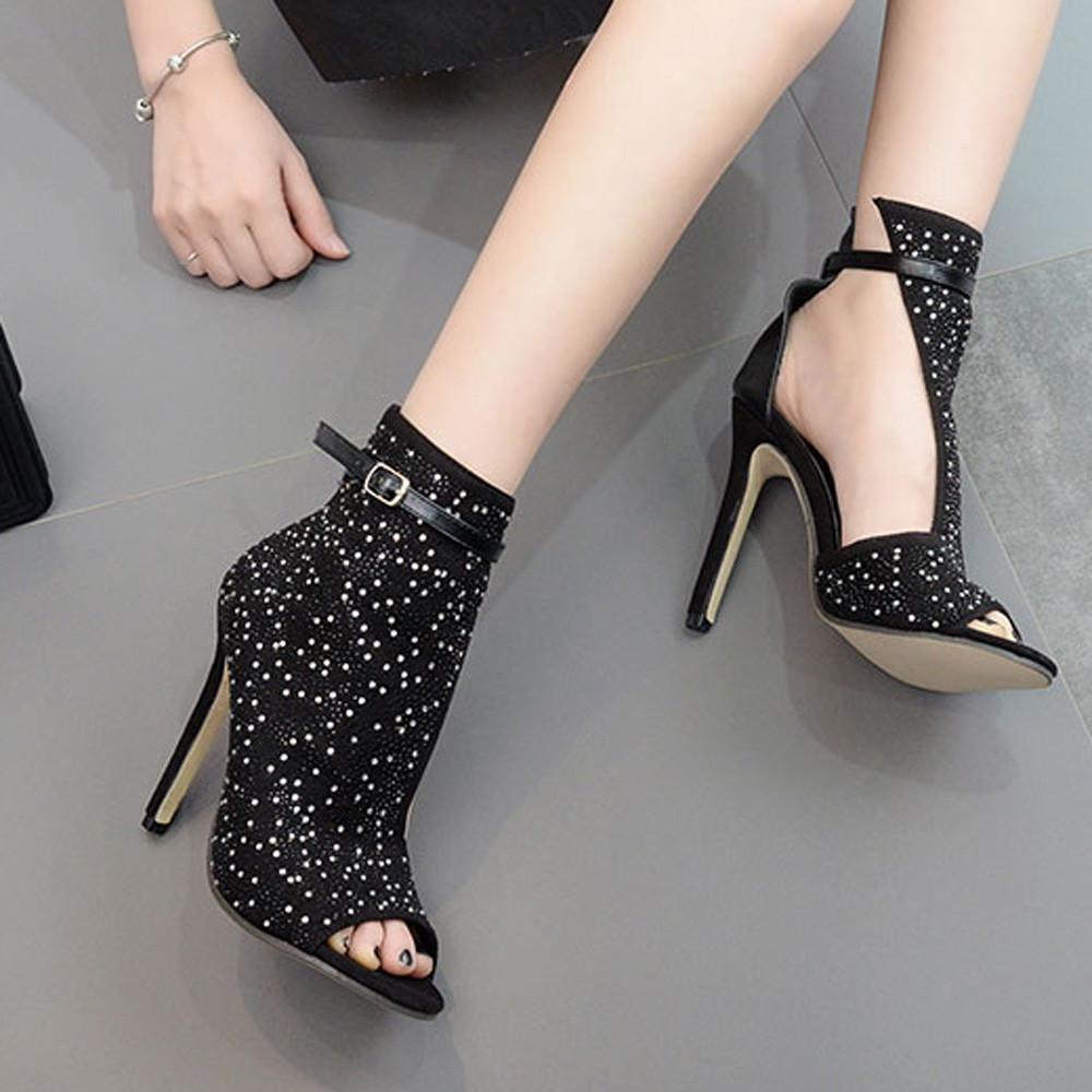 New Peep Toe Plastic Short Boots Sexy Women's Diamonds High Heeled Sandals Woman winter Lady Boots Women Fashion Hotselling New