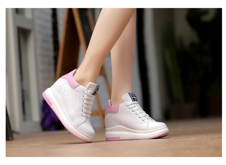 WADNASO Height Increased Casual Shoes Woman Wedge Platform Sneakers Lace Up Breathable Hide Heels Ladies Shoes Female XZ108 (21)