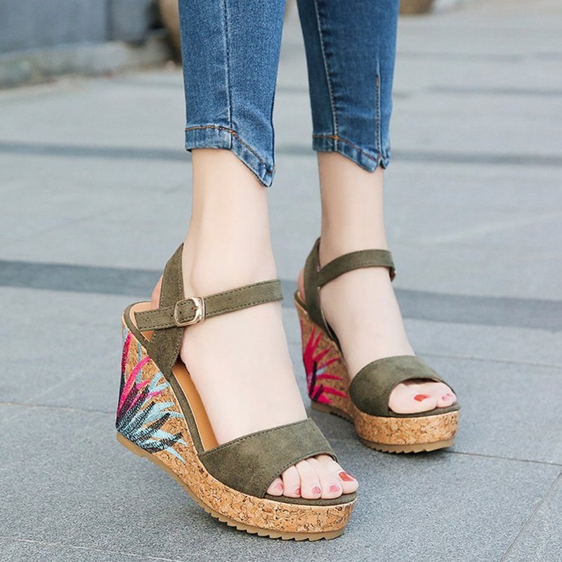 COOTELILI High Heels Women Summer Shoes Women Sandals Summer Shoes Women Open Toe Embroidery Beach Sandals 35-39 (5)
