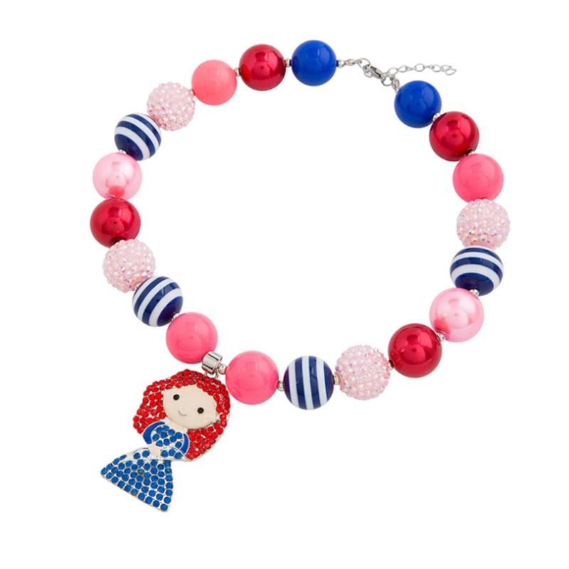 2018 New Fashion Style Beads Lovely Children Pink Beaded Chunky Necklace Fashionable Jewelry For Kids Pendant Necklace Gift