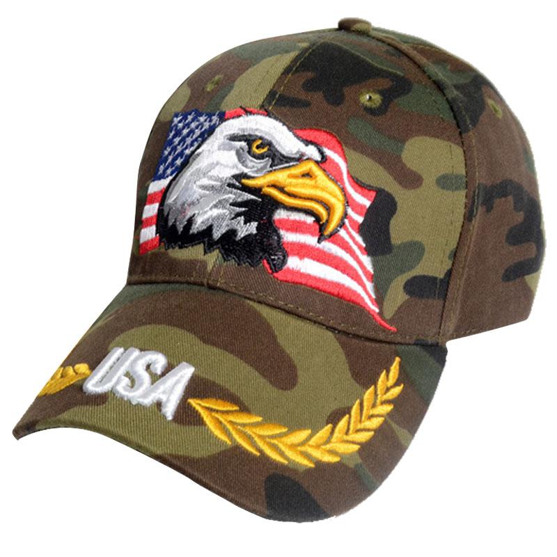 USA Eagle Baseball Cap Army Green the Star-Spangled Banner Embroidery Hat Visor Cotton Baseball Cap