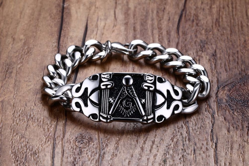 Mens Freemasons Bracelets 316L Stainless Steel Vintage Silver Black Curb Linkage Biker Punk Masonic Symbol For Men 21CM pulseira masculina 13