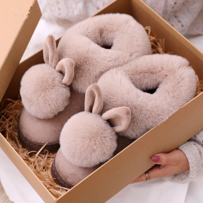 Winter Home Warm Slippery Cotton Slippers Pink Cute Rabbit Slippers