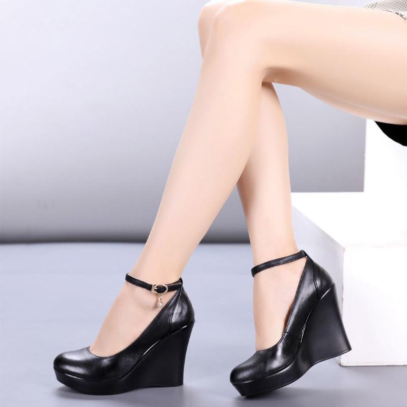 Donna Cinturino Alla Caviglia Mary Jane Pompe Punta Tonda Tacco Zeppa Scarpe Casual Plus Size