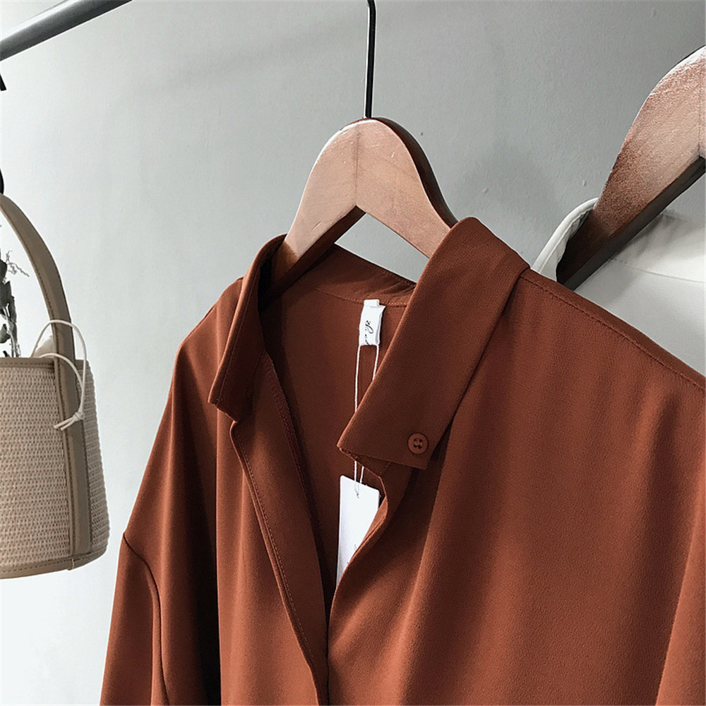 High quality Casual Chiffon white Women blouse shirt oversized Three Quarter sleeve loose shirt office wear casua tops blusas (14)