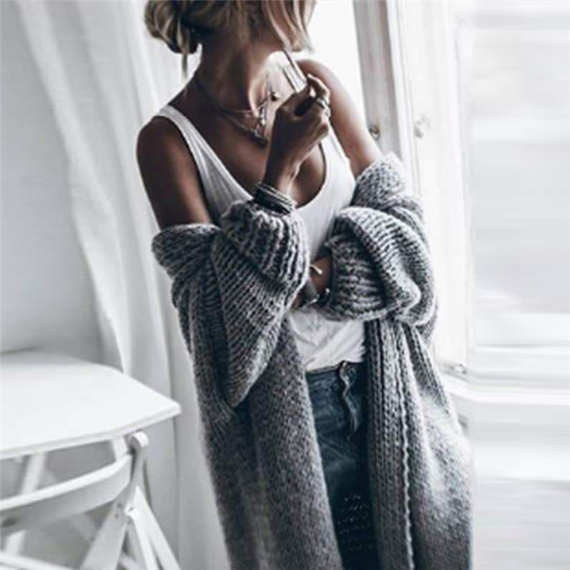 Women Sweater Cardigan Coat Fashion Casual Solid Loose Bat Sleeve Autumn Winter Knit Cardigan Lady Long Loose Sweater Thick Coat