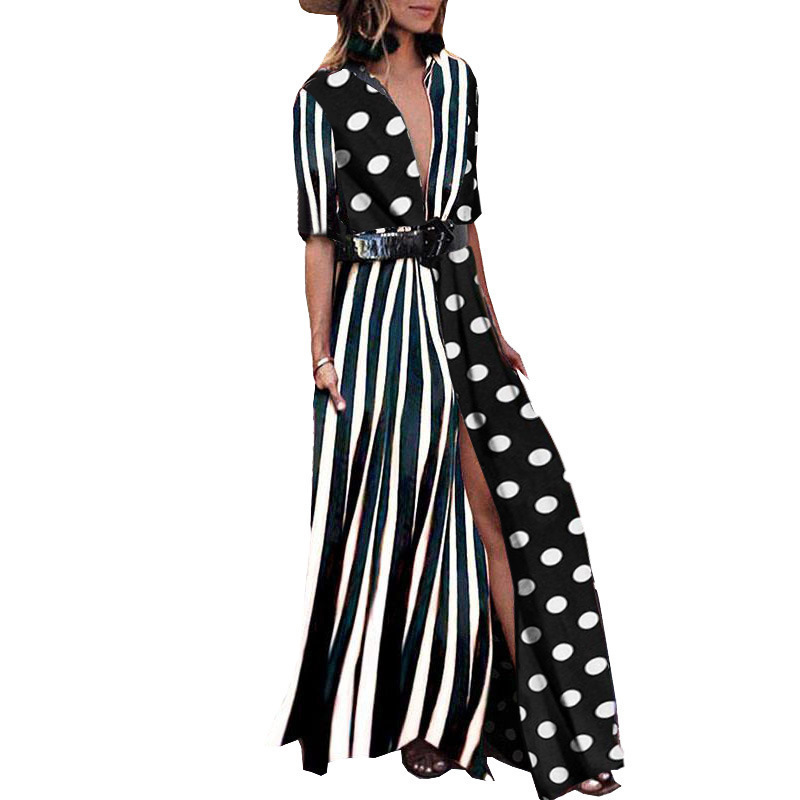 Tryeverything Green Boho Dresses For Women 2019 Maxi Cotton Long Dress Summer Deep V Neck Sexy Ladies Dresses With Belt Clothing Y190410