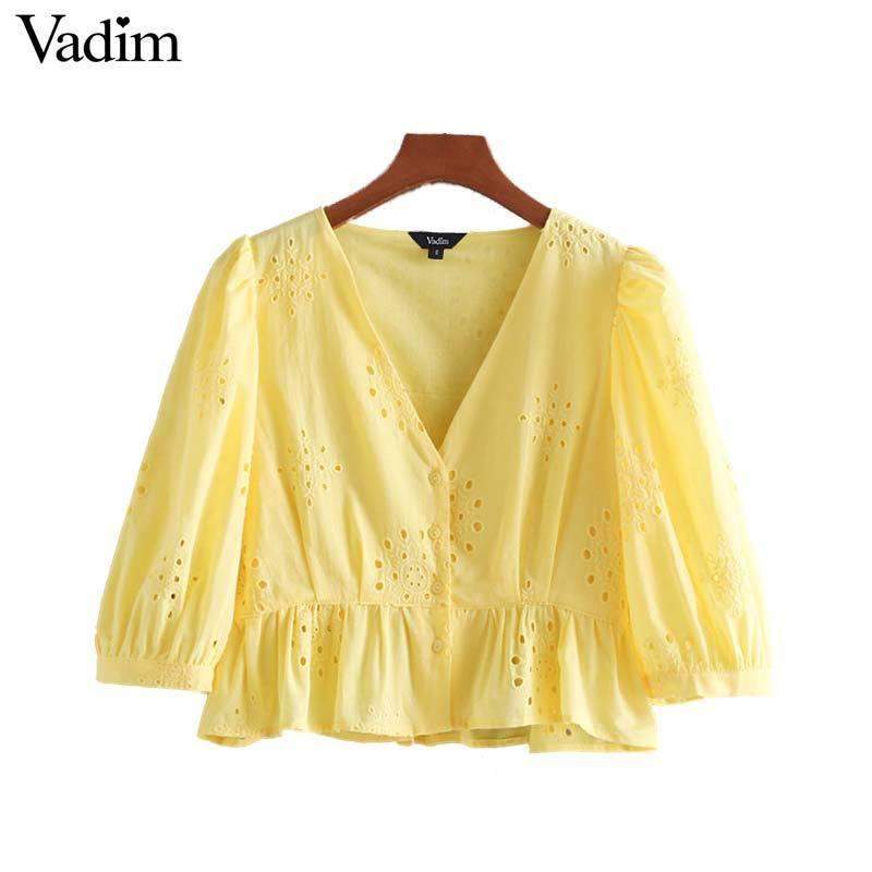 Vadim Kadınlar Tatlı V Boyun Nakış Kırpma Üst Üç Çeyrek Kol Bluzlar Ruffles Patchwork Kadın Moda Rahat Lb201 Y19062601 Tops
