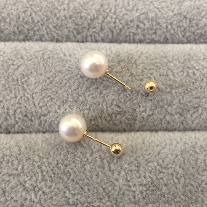 Sinya Natural Round pearls 18k gold beads stud earring for women screw gold ball tight design DIY wear earring 2018 fashion sale (5)