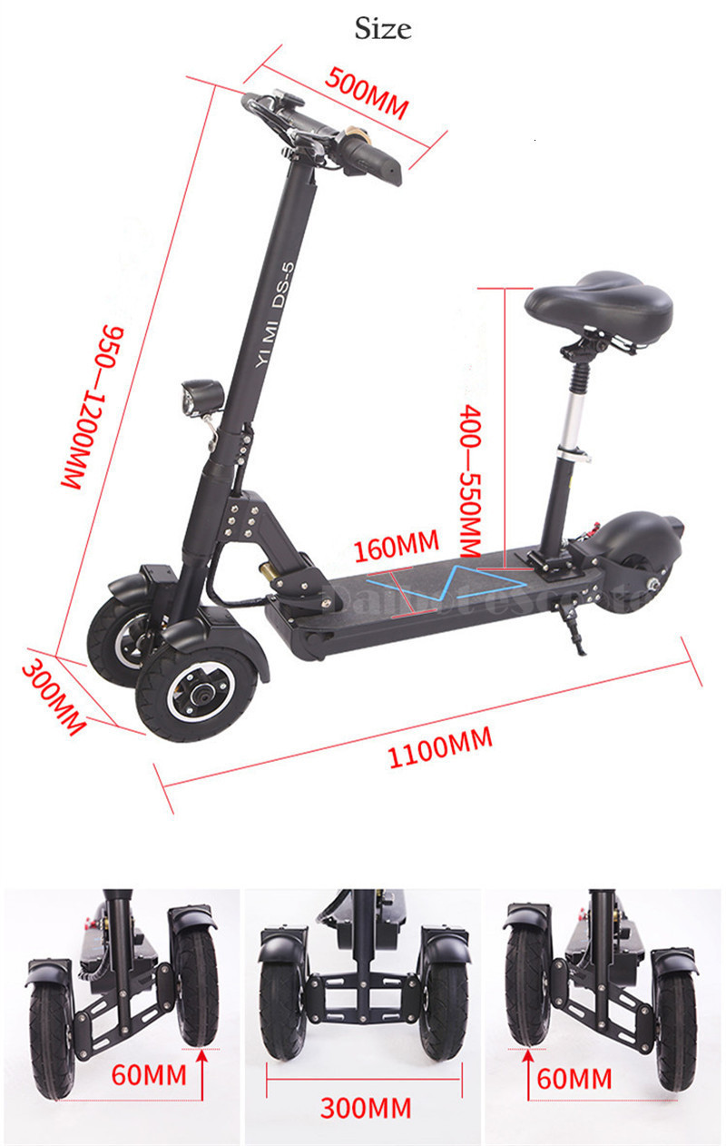 Daibot 3 Wheel Electric Scooter With Seat Electric Scooters 8 inch 400W 36V500W 48V Folding Electric Skateboard For Adults (9)