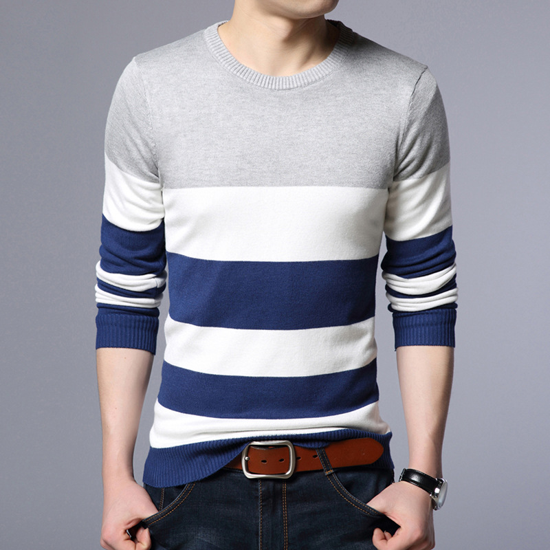 2019 Men fall sweater fashion casual patchwork color round collar thin type sweater sweater men