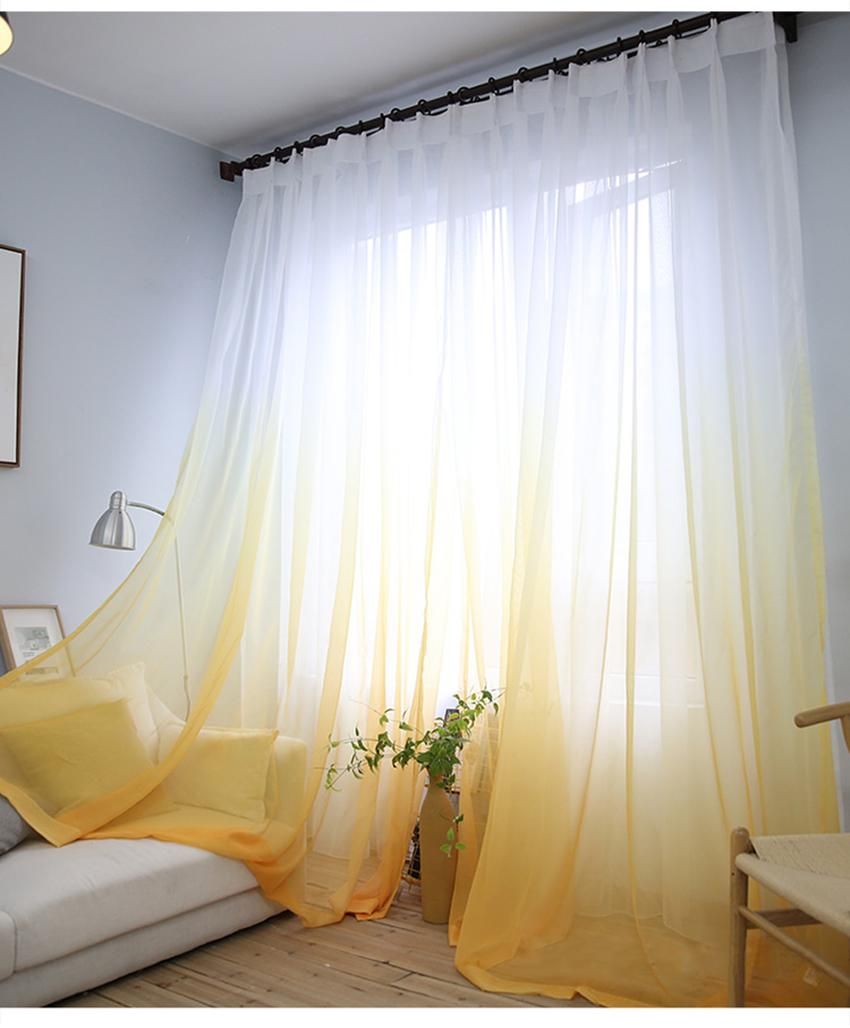 2021 Curtains Gradient Color Print Voile Gray Window Curtain Modern Living Room Curtains Tulle Sheer Fabrics Rideaux Cortinas From Homedod 19 62 Dhgate Com