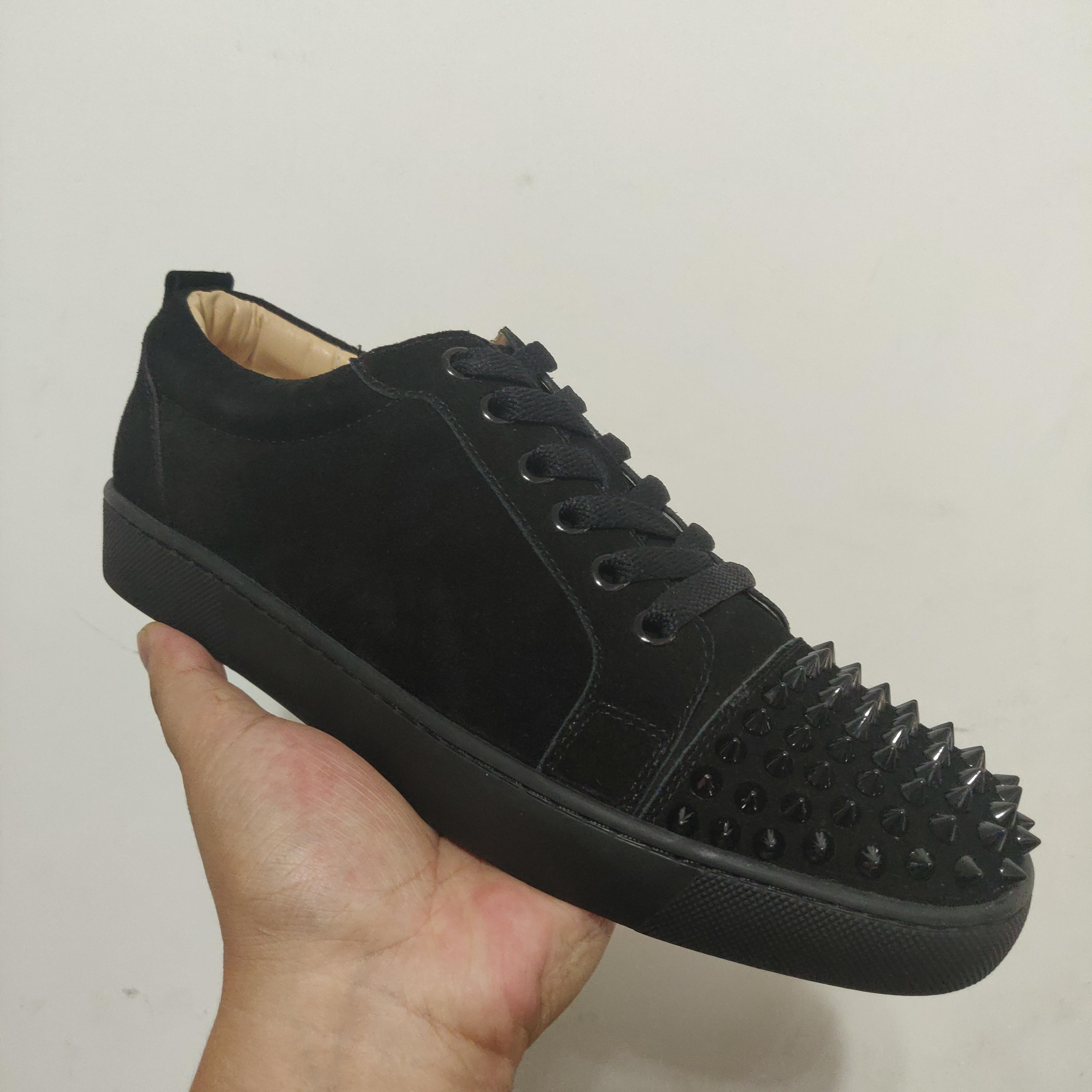 Chaussures de sport Designer Red Bottom Spikes Low Cut Flats Chaussures pour homme femme Chaussures en cuir Chaussures Casual avec sac à poussière