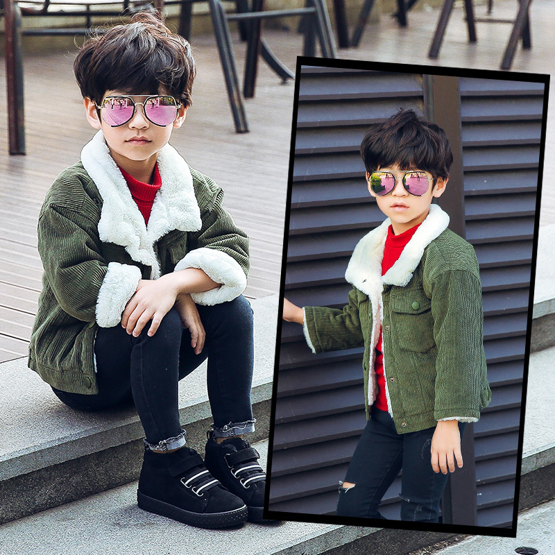 2019 New Korean Version Of The Fall And Winter Child Coats Boy Plus Thick Velvet Corduroy Outerwear