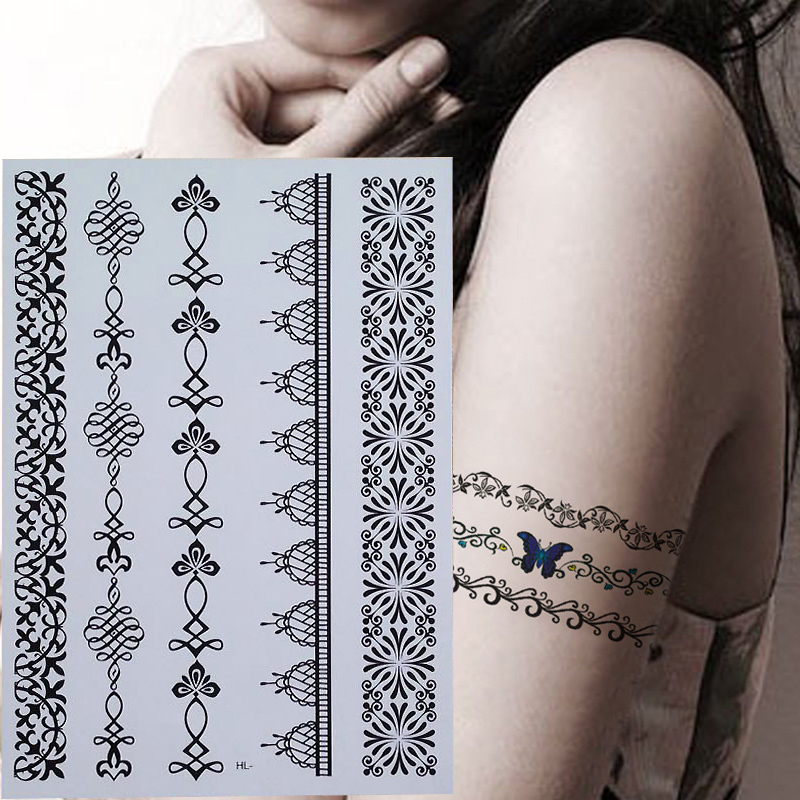 Indian Arabic Trendy Henna Black Tattoos Temporary Waterproof For Arm Shoulder Hand Flower Fake Tatoo Sticker