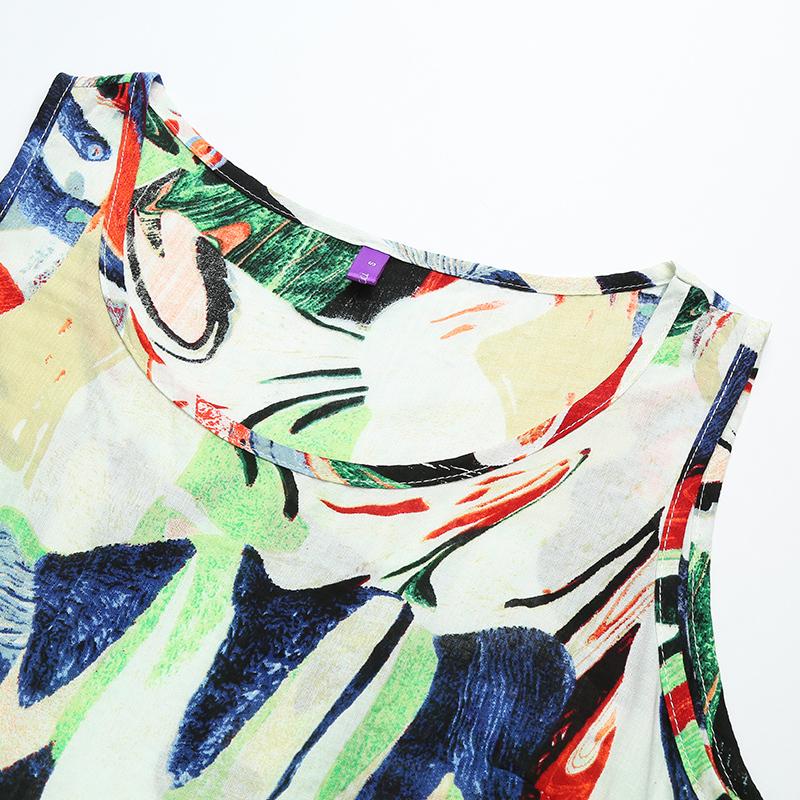 5XL Plus Size Dress Fashion Loose Graffiti Print Midi Dress O Neck Drawstring Waist Sleeveless Pocket Casual Summer Dress 2019