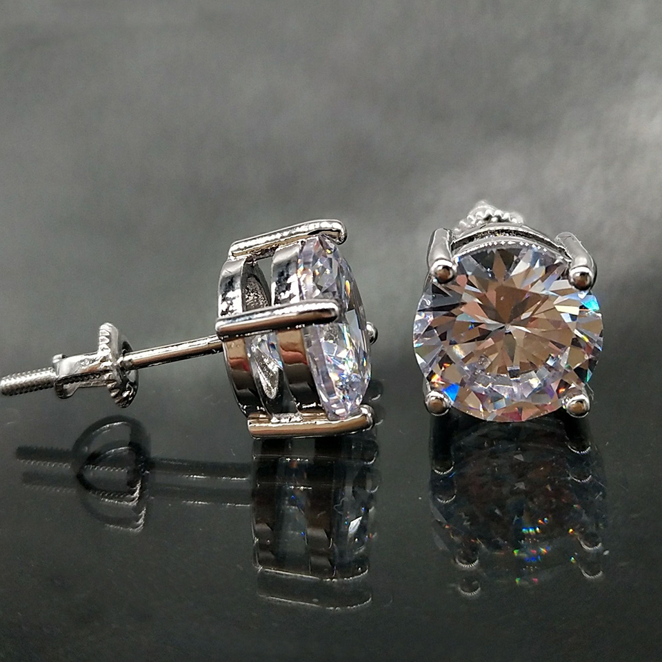Par 4mm Acero Inoxidable Piedra redonda Aretes zarcillos de diamantes de imitación de cristal