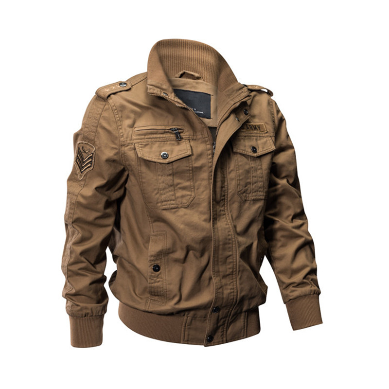 MORUANCLE Mens Casual Cargo Jackets Military Style Flight Bomber Jacket And Coat For Man Outerwear Plus Size M-5XL Stand CollarMX190828