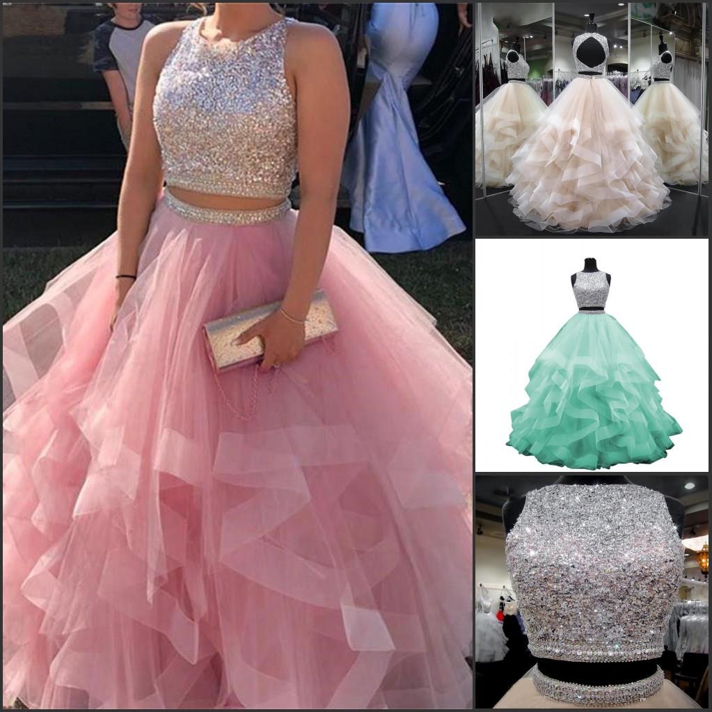 zwei stück ballkleid quinceanera prom kleider kristall perlen luxus tiered  puffy tüll sweet 16 kleider formale vestidos de 15 anos party kleid