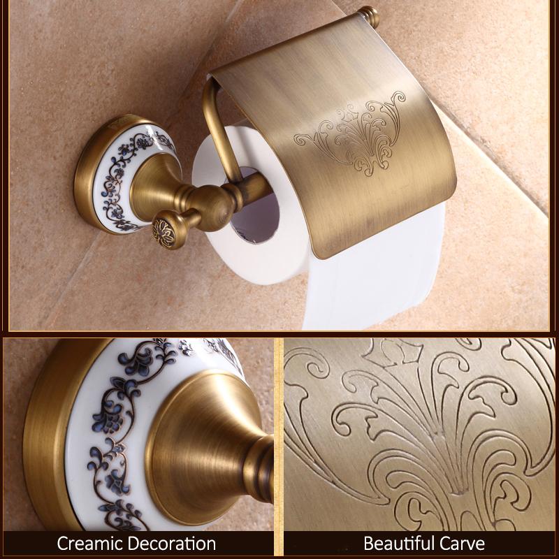 Quyanre Bathroom Hardwares Antique Brass Luxury Bathroom Accessory paper Holder Toilet Brush Rack Commodity Basket Shelf Soap Dish Towel Ring4