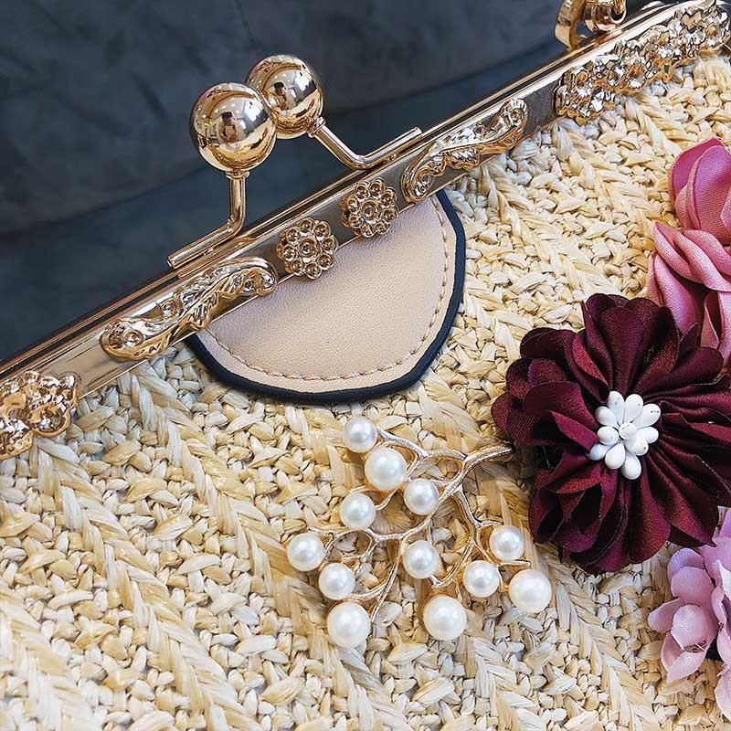 Women Pearl Handbag INS Popular Female Summer Flower Straw Bag Lady Fashion Shoulder Bag Travel Beach Woven Crossbody Bag SS7220 (10)