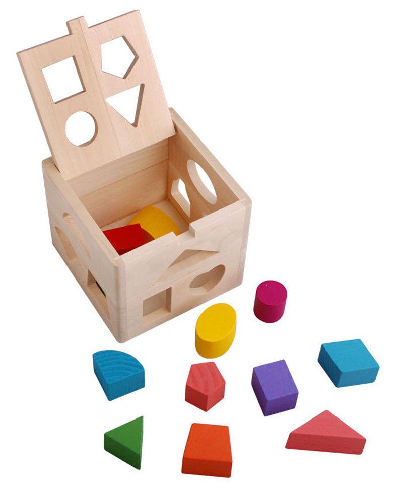 Kinder Holz Montessori Spielzeug   Form Sortierung Box Geometrie Block