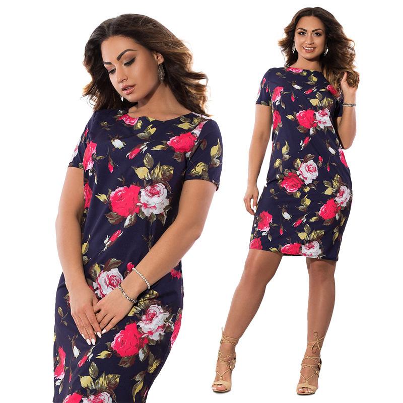 2019 Autumn Plus Size Dress Europe Female Fashion Printing Large Sizes Pencil Midi Dress Women's Big Size Clothing 6xl Vestidos Y190515