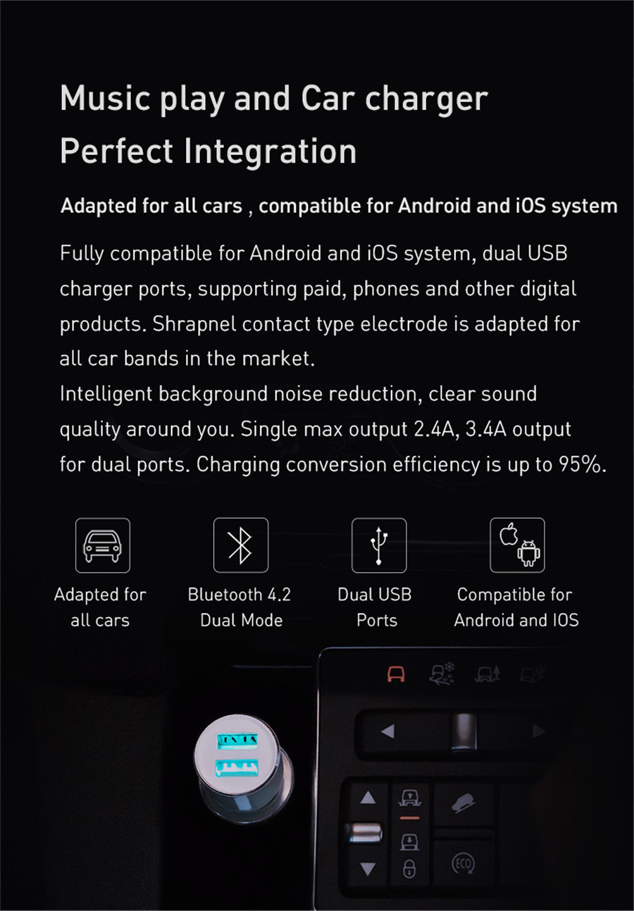 Xiaomi 3s Bluetooth 5v 3 4a Charger Music Player Fm Smart App For  Ios/Android + Roidmi Magnetic Car Holder J190427 Wireless Mobile Charging  Charging