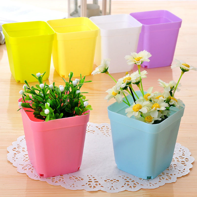 Mini Square Plastic Flower Pot Home Office Decor Planter Colorful With Pots Trays Green Plant Artificial Wyq C19041901