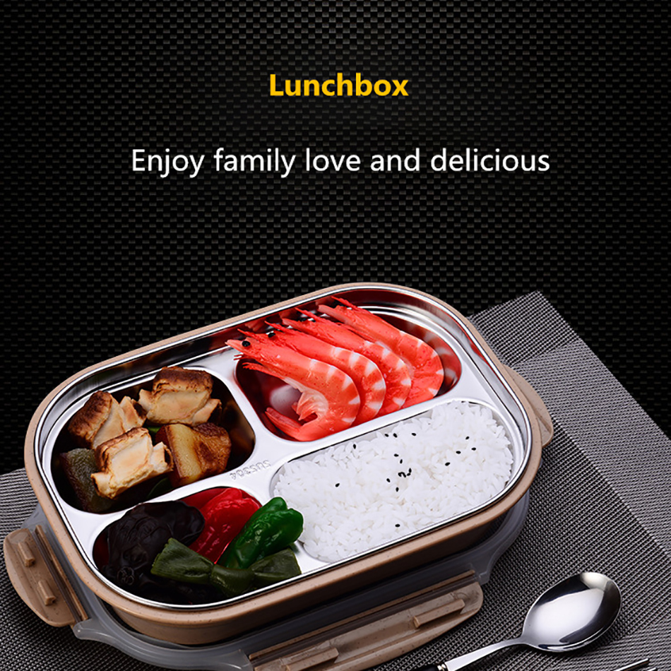 ONEUP stainless steel Lunch box Eco-friendly Wheat Straw Food container with cutlery Bento Box With Compartments Microwavable 1