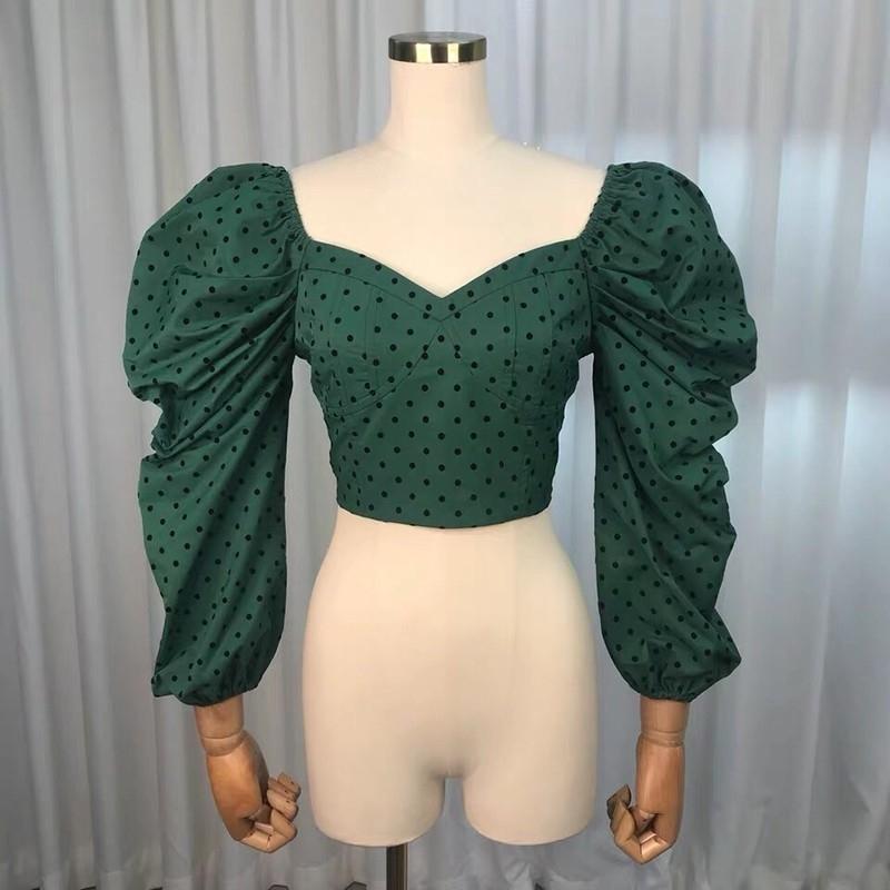 Twotwinstyle Tupfen V Ansatz beiläufige Frauen Bluse Hauchhülse Backless Kurzes reizvolles weibliches Hemd Frühlingsart und weise neues 2019 Y190822