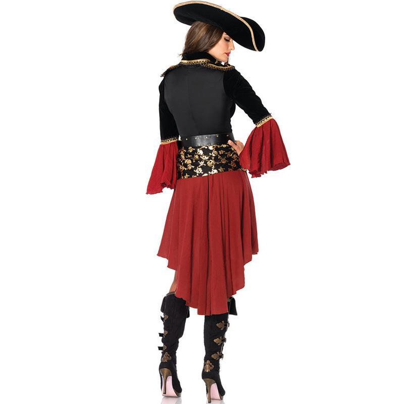 CARAIBI costume da Donna Pirata Swashbuckler Donna Costume Gallina Vestito