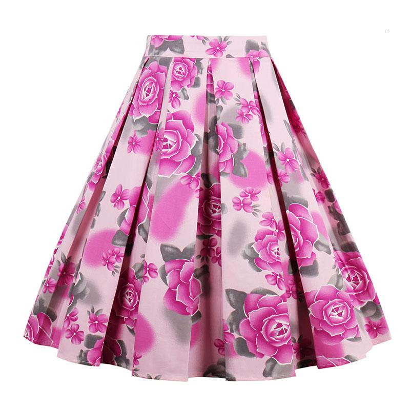 Kostlish Retro Print Flower Summer Skirts Womens High Waist Vintage Skirt Elegant A-Line Midi Women Skirt Plus Size XXL (13)