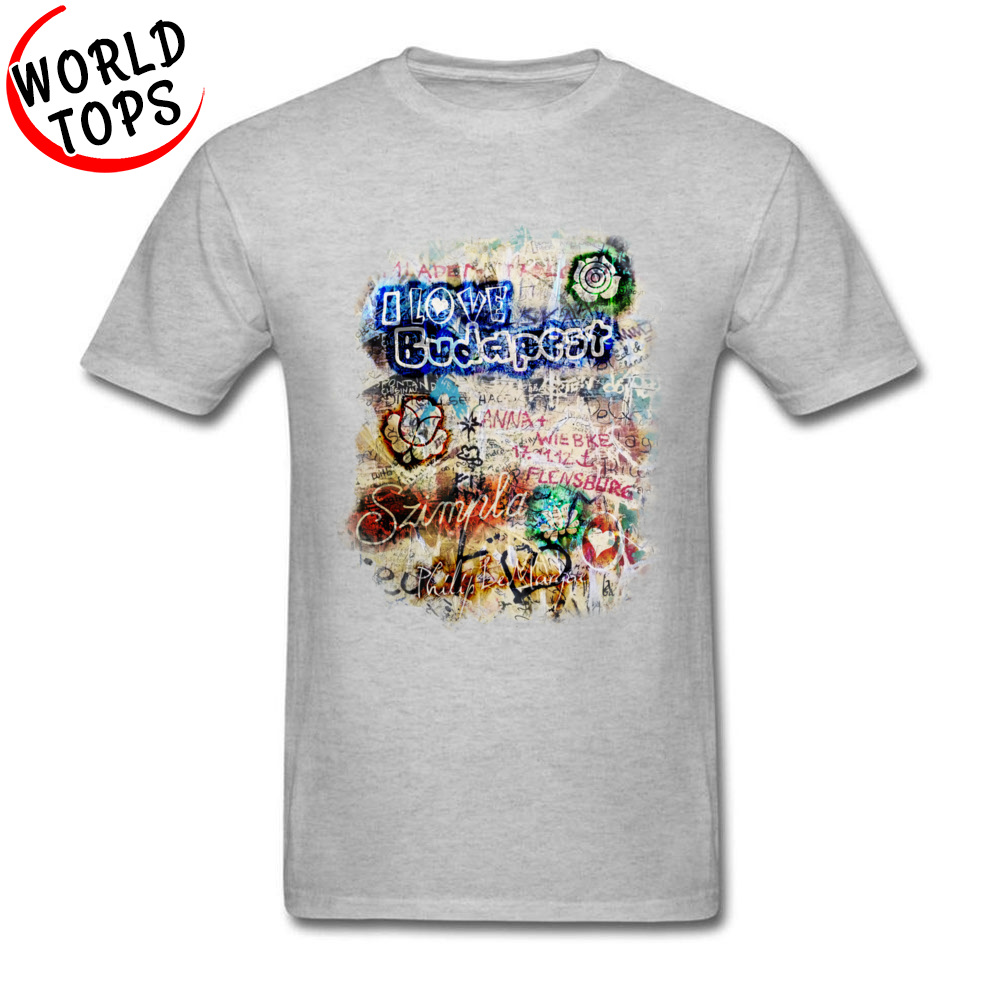 Graffiti Szimpla I Love Budapest Mother Day Pure Cotton Round Collar Tops T Shirt Funny Clothing Shirt Wholesale Top T-shirts Graffiti Szimpla I Love Budapest grey